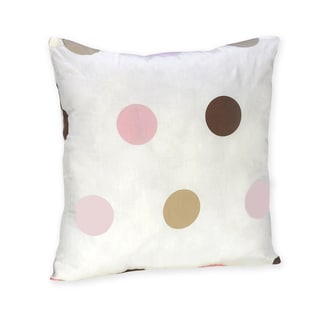Sweet Jojo Designs Pink and Brown Modern Polka Dot Throw Pillow