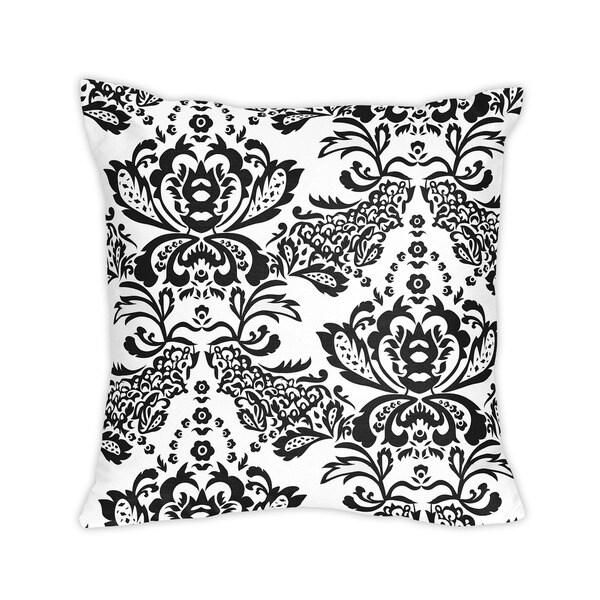 Sweet Jojo Designs Black and White Floral Damask Throw Pillow