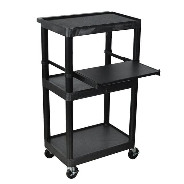 Offex Heavy Duty 3 Shelf AV Storage Cart Shelves with Keyboard Tray Black