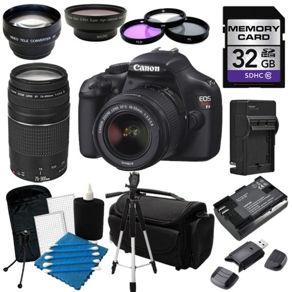Canon EOS Rebel T3 Digital SLR Camera with 18-55mm IS II & 75-300 III Lens Bundle