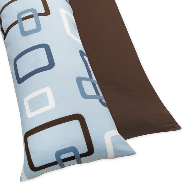 Sweet JoJo Designs Blue and Brown Geo Full Length Double Zippered 200 Thread Count Body Pillow Case Cover