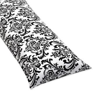 Sweet JoJo Designs Damask Full Length Double Zipper Body Pillow Cover