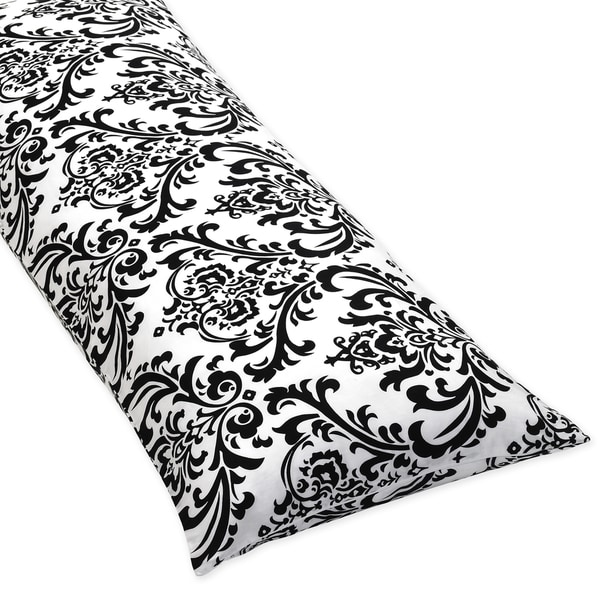 Sweet JoJo Designs Damask Full Length Double Zipper Body Pillow Cover