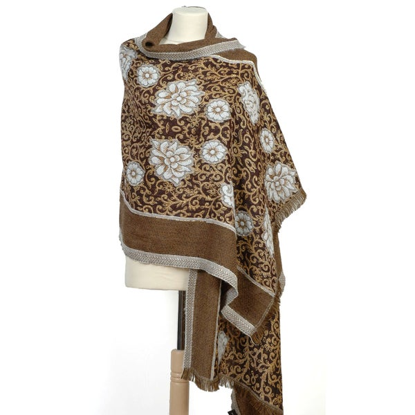 Selection Privee Paris 'Chloe' Gold Floral Embroidered Wool Shawl