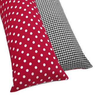 Sweet JoJo Designs Red and White Ladybug Polka Dot Full Length Double Zippered Body Pillow Case Cover