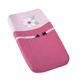 Sweet JoJo Designs Pink and Green Flower Changing Pad Cover