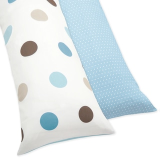 Blue and Brown Mod Dots Full Length Double Zippered Body Pillow Case Cover