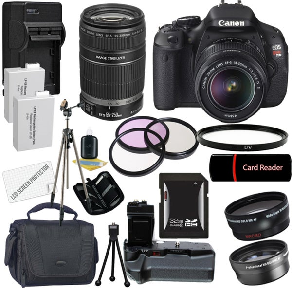 Canon EOS Rebel T3I Digital SLR Camera with 18-55mm & 55-250 IS II Lens Bundle