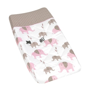Sweet JoJo Designs Pink and Taupe Mod Elephant Baby Changing Pad Cover