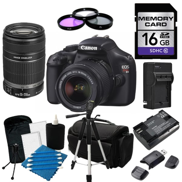 Canon EOS Rebel T3 Digital SLR Camera with 18-55mm IS II & 55-250 IS II Lens Bundle