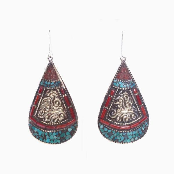 Brass Turquoise Coral Teardrop Earrings (Nepal)