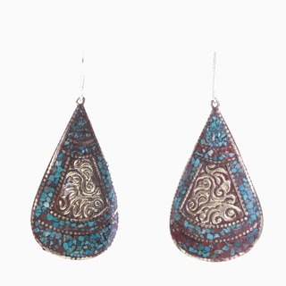 Brass Turquoise Teardrop Earrings (Nepal)