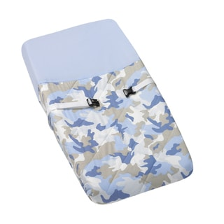 Sweet JoJo Designs Blue and Khaki Camo Army Military Camouflage Changing Pad Cover