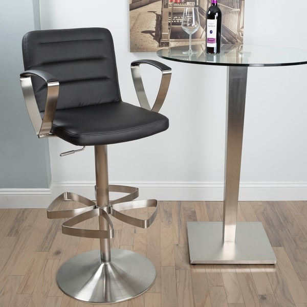 Rexx Brushed Stainless Steel Adjustable Height Swivel