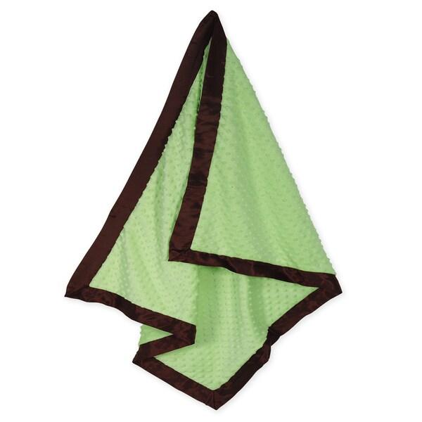 Sweet JoJo Designs Super Soft Green Minky Dot and Satin Baby Blanket
