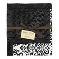 Sweet JoJo Designs Isabella Damask Black/ and White Minky Swirl Baby Blanket
