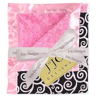 Sweet JoJo Designs Madison Pink and Black Minky Swirl Baby Blanket