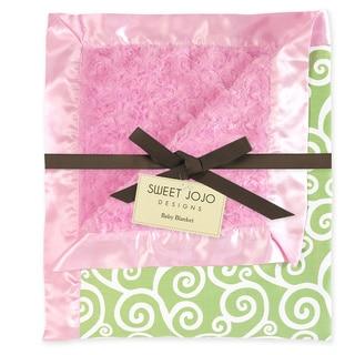 Sweet JoJo Designs Olivia Pink and Green Minky Swirl Baby Blanket
