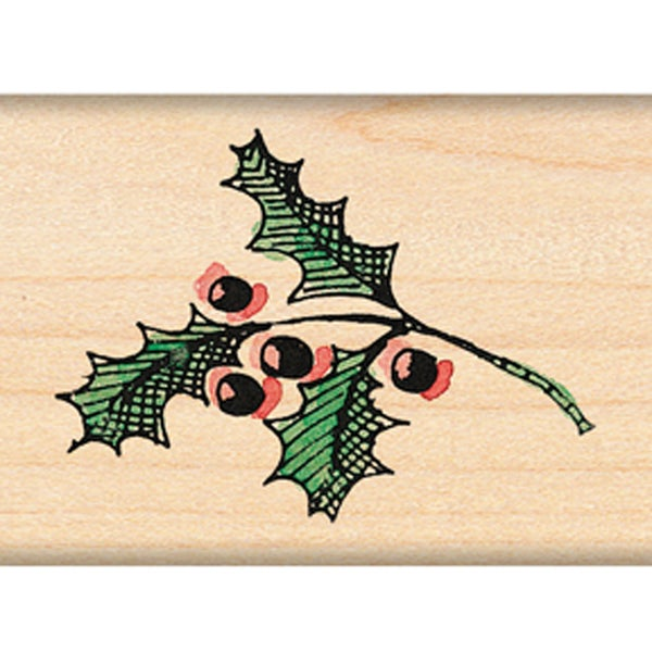 "Penny Black Mounted Rubber Stamp 1.5""X1.5""-Holly Sprig"