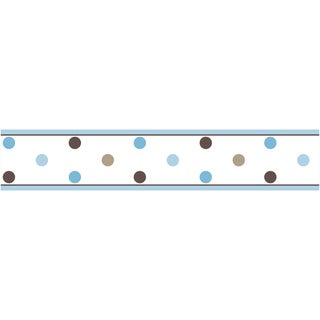 Sweet JoJo Designs Blue and Brown Mod Dots Wall Border