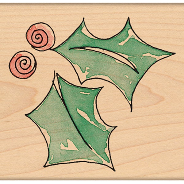 "Penny Black Mounted Rubber Stamp 1.75""X2""-Swirl Holly"