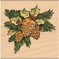 "Penny Black Mounted Rubber Stamp 2.25""X2.25""-Pinecone Corner"
