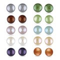 Miadora Silvertone Multi-colored Pearl 10-piece Earring Set (7 mm)