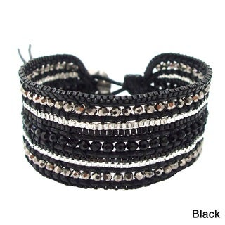 Black Metal Meadows Multicolor Crystals Bracelet (Thailand)