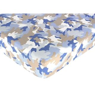 Sweet JoJo Designs Blue Camp Fitted Crib Sheet