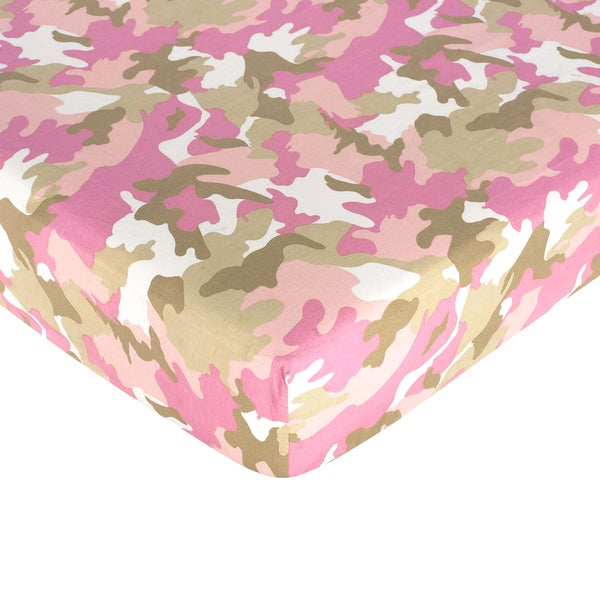 Sweet JoJo Designs Pink and Khaki Camo Fitted Crib Sheet