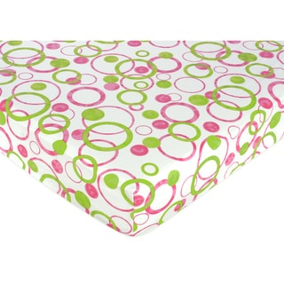 Sweet JoJo Designs Pink Circles Fitted Crib Sheet
