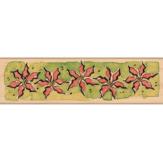 "Penny Black Mounted Rubber Stamp 2.25""X6""-Poinsettia Border"