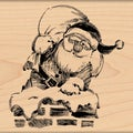 "Penny Black Mounted Rubber Stamp 3.5""X3.5""-Roof-Top Santa"