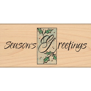 "Penny Black Mounted Rubber Stamp 2.5""X5""-Holly Greetings"