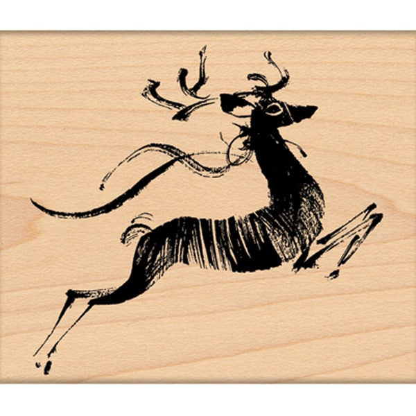 "Penny Black Mounted Rubber Stamp 3.5""X3.5""-Leaping Deer"