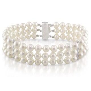 Miadora Sterling Silver Cultured Freshwater Pearl 3-strand Bracelet (6.5-7 mm)