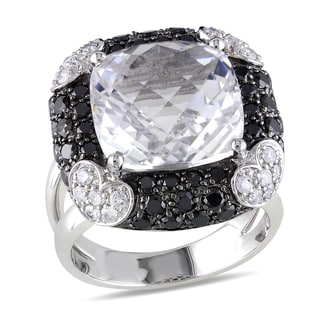 Miadora 14k White Gold 1 3/4ct TDW Diamond and Crystal Ring (G-H, I1-I2)