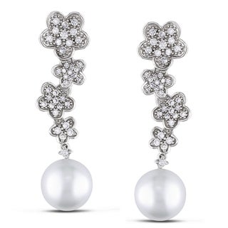 Miadora Signature Collection 18k Gold South Sea Pearl and 4/5ct TDW Diamond Earrings (G-H, SI1-SI2)