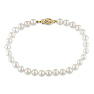 Miadora 14k Yellow Gold White Cultured Akoya Pearl Bracelet (5-5.5 mm)