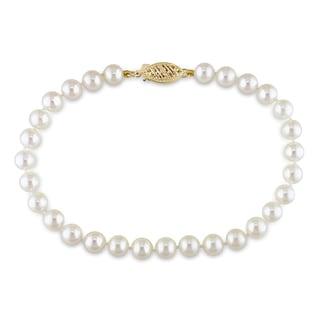 Miadora 14k Yellow Gold White Akoya Pearl Bracelet (5-5.5 mm)