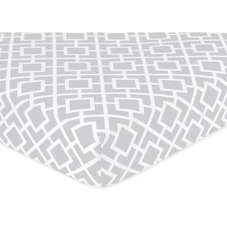 Sale alerts for  Sweet JoJo Designs Grey and White Fitted Crib Sheet - Covvet