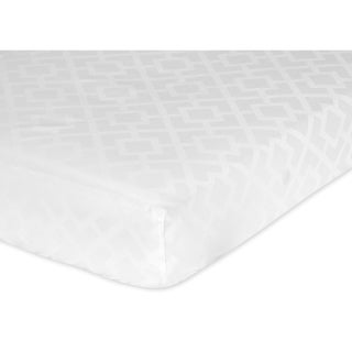 Sweet JoJo Designs White Jacquard Fitted Crib Sheet
