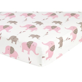 Sweet JoJo Designs Pink Taupe Elephant Crib Sheet