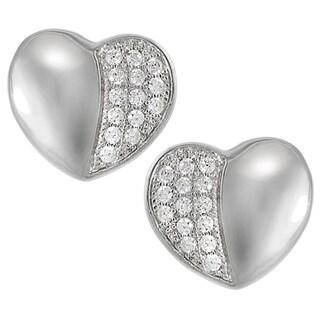 Journee Collection Sterling Silver Cubic Zirconia Heart Earrings