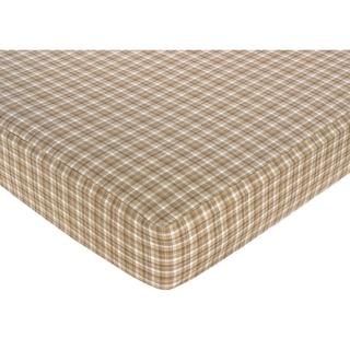 Sweet JoJo Designs Taupe Plaid Fitted Crib Sheet