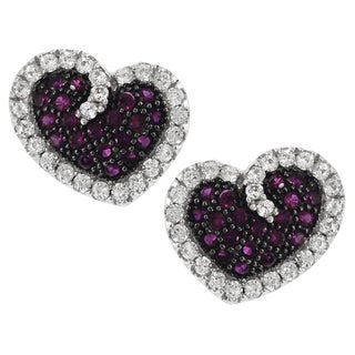 Tressa Sterling Silver Cubic Zirconia Heart Stud Earrings