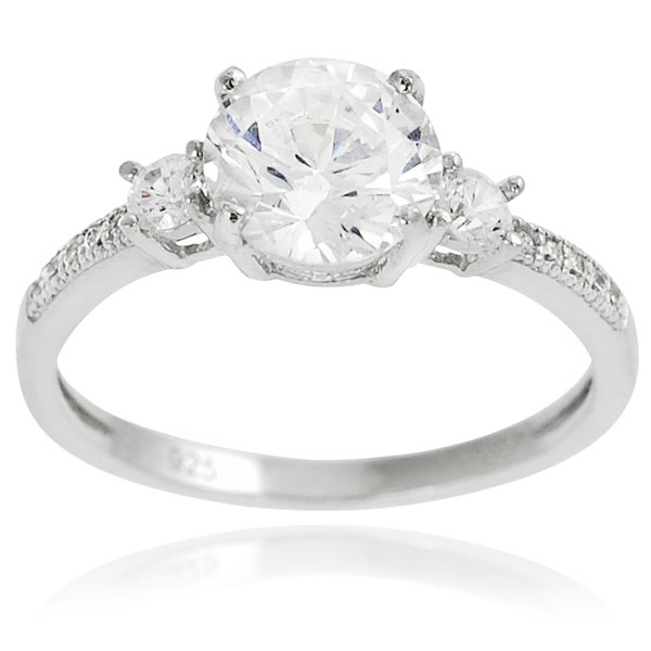Journee Collection Sterling Silver Cubic Zirconia Bridal and Engagement Ring