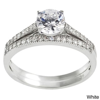 Tressa Sterling Silver Cubic Zirconia Bridal and Engagement Ring