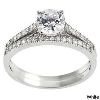 Tressa Sterling Silver Round-cut Cubic Zirconia Bridal and Engagement Ring