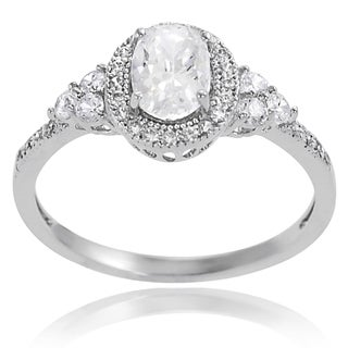 Tressa Sterling Silver Cubic Zirconia Oval Engagement Ring